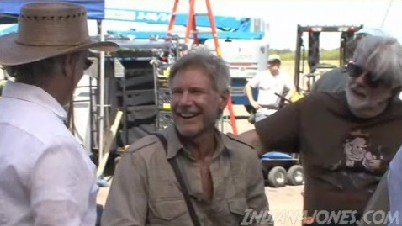 Spielberg Ford and Lucas on Indiana Jones 4 set